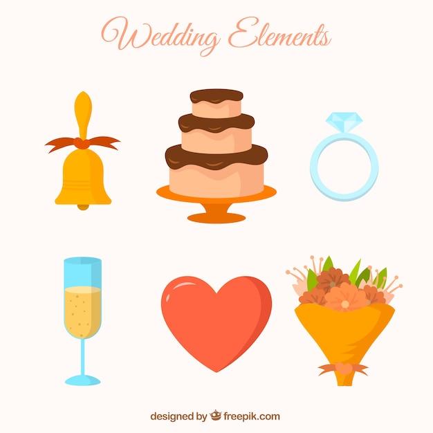 Abbastanza bouquet e altri oggetti di nozze Vettore gratuito