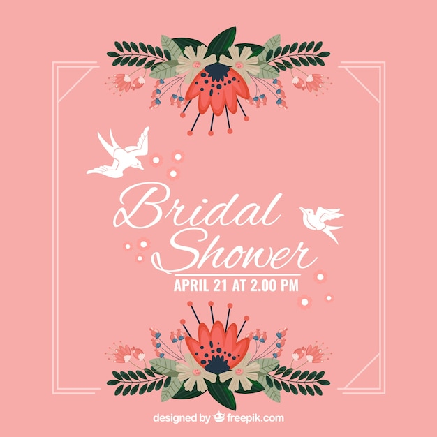 Pretty bridal shower frame with flowers and\ doves