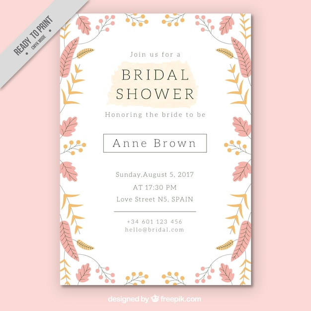 Pretty bridal shower invitation template with colored flowers Free Vector