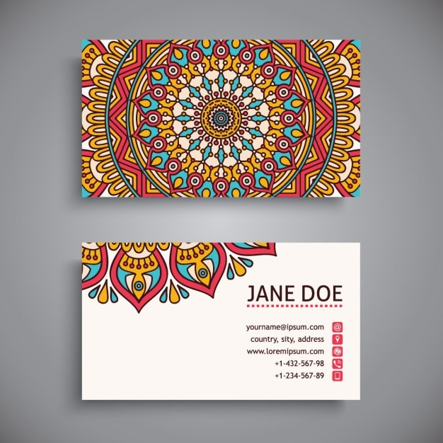Pretty business card with a mandala Free Vector