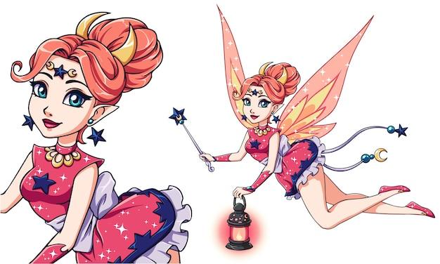 Pretty Cartoon Fairy Holding Lantern And Magic Wand Vector