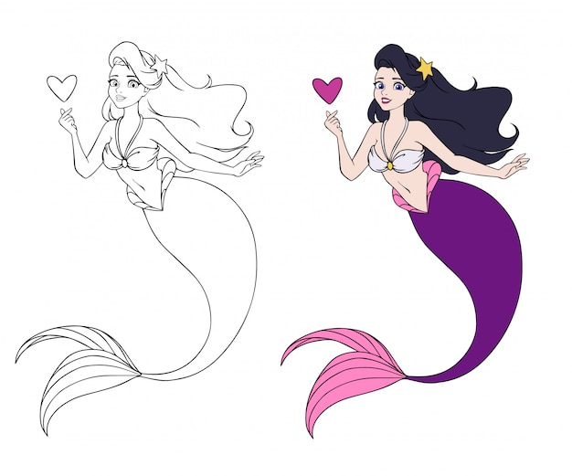 Pretty cartoon mermaid holding a heart in color and line art Premium Vector