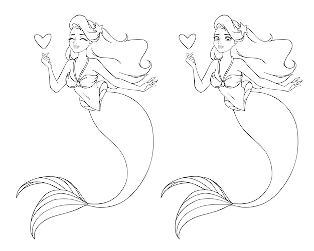 Pretty cartoon mermaid holding a heart. open and closed eyes versions. Premium Vector