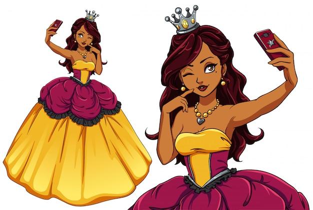 Selfieを取ってかなり漫画の王女。黄色の王室のドレスと銀の王冠を身に着けているブルネットの少女。手描きイラスト。 tシャツテンプレート、子供のモバイルゲーム、本、カードに使用できます。 Premiumベクター