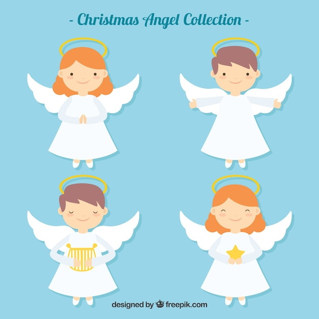 Pretty christmas angels in flat design Free Vector