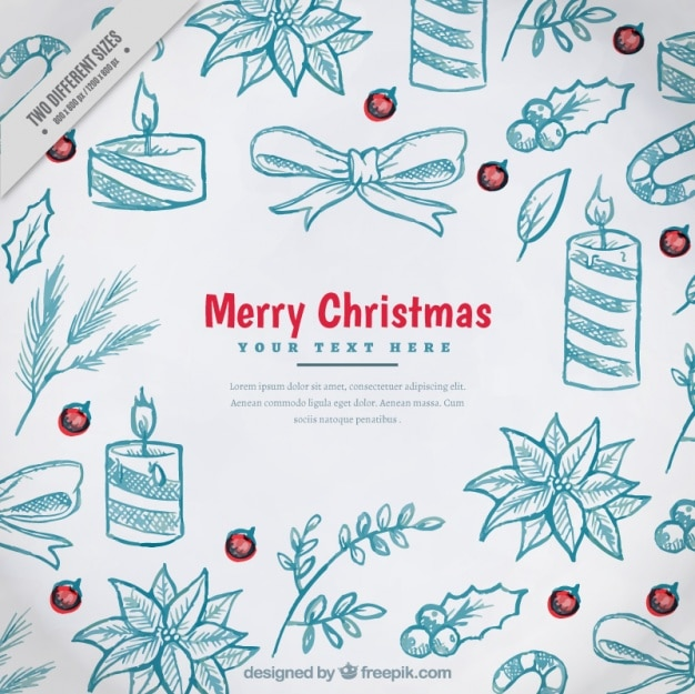 Pretty Christmas Background With Ornaments Sketches Vector | Free Download