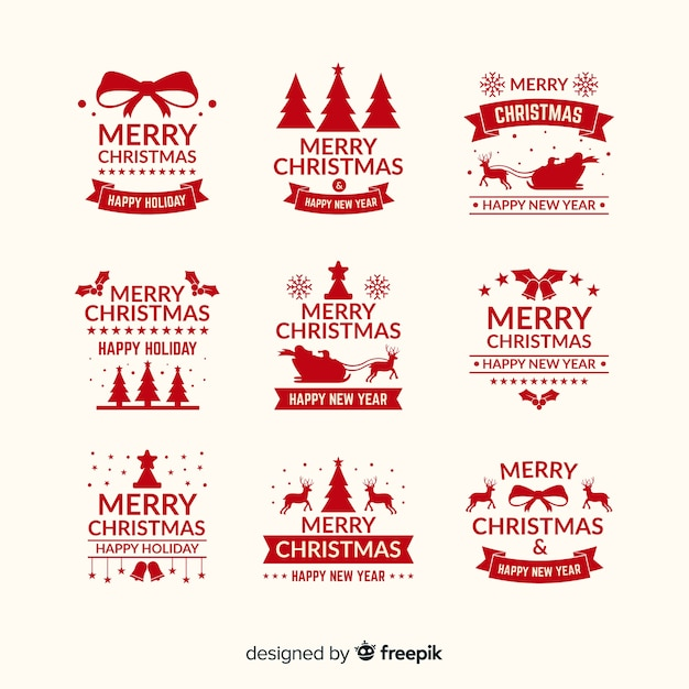 Pretty christmas badge collection Free Vector