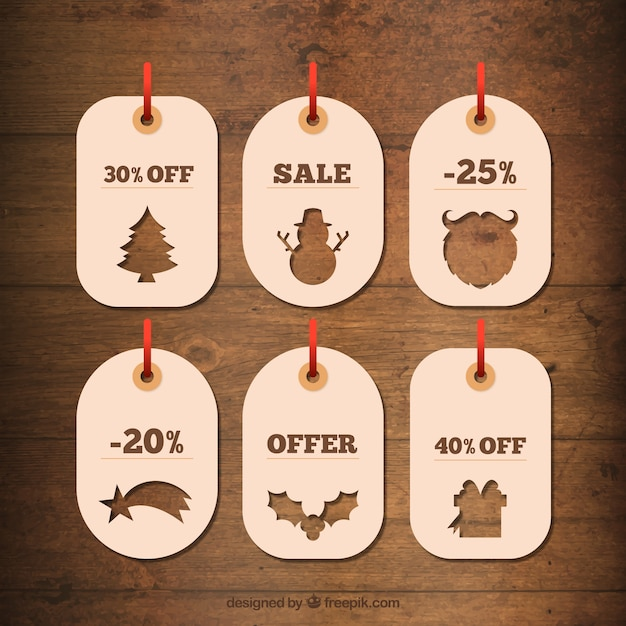 pretty christmas discount cards with silhouettes free vector