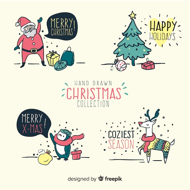 Pretty christmas elements Vector | Free Download