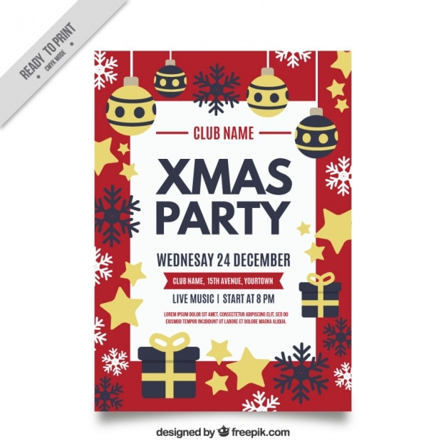 Pretty christmas party brochure in vintage design