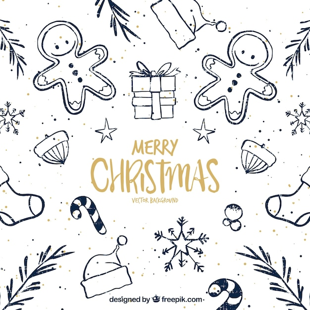 pretty christmas sketches background free vector