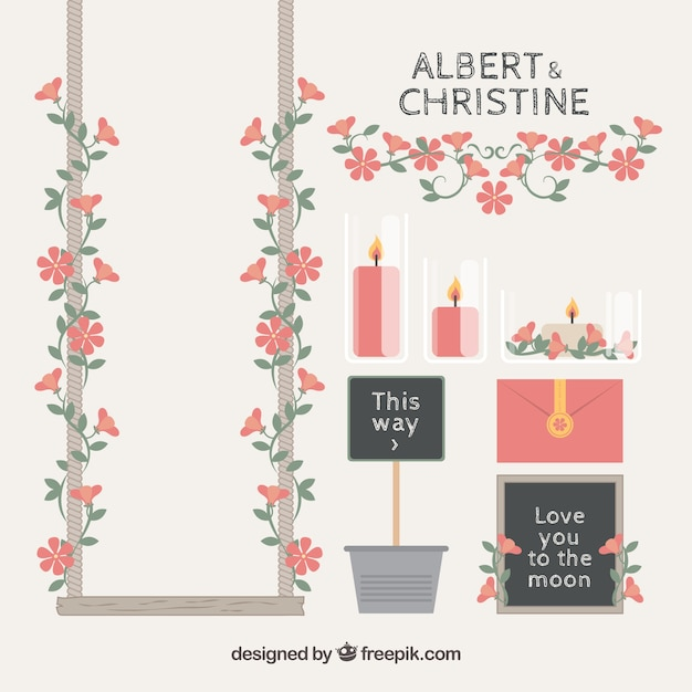Pretty collection of elegant wedding elements Free Vector
