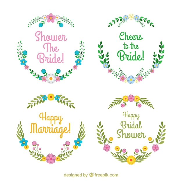 pretty collection of bridal shower frames free vector