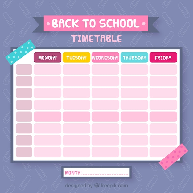 Pretty colorful school calendar
