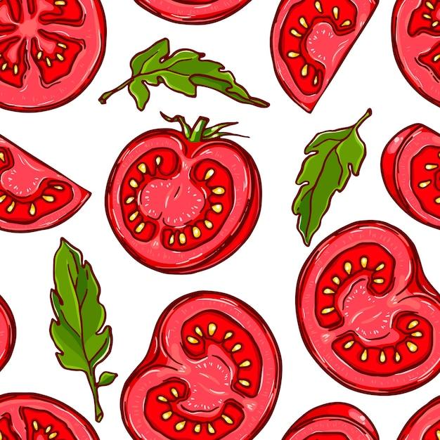Довольно красочный фон из рисованной нарезанного помидора. Premium векторы