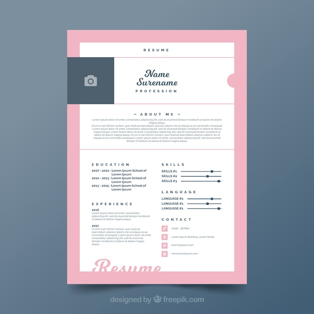 Pretty curriculum template with pink frame Free Vector