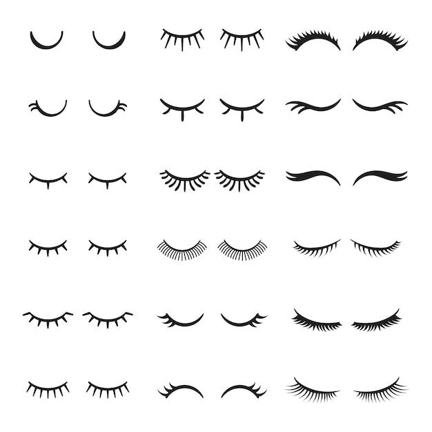 Pretty cute beauty mascara face makeup closed eyes girl with shiny beautiful black eyelashes. Premium Vector