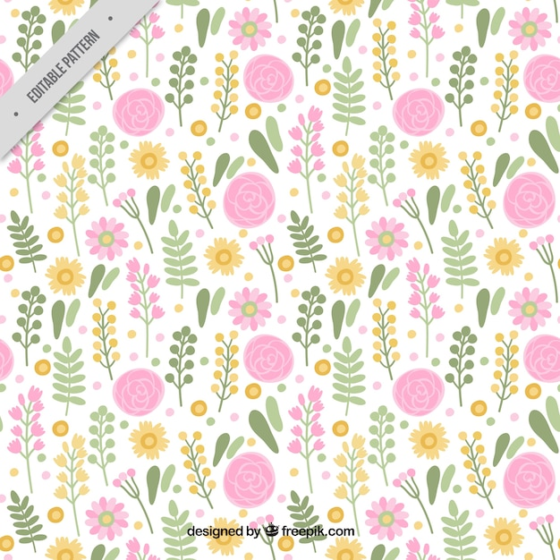 Pretty decorative pattern with flowers and leaves