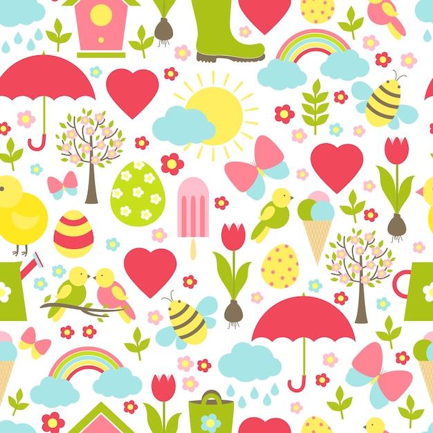 날씨를 묘사하는 상징적 인 봄철 즐겨 찾기가있는 바쁜 디자인의 매우 섬세한 원활한 봄 패턴 무료 벡터