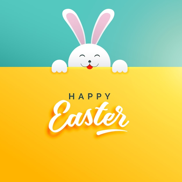 Pretty easter background with a white rabbit Free Vector
