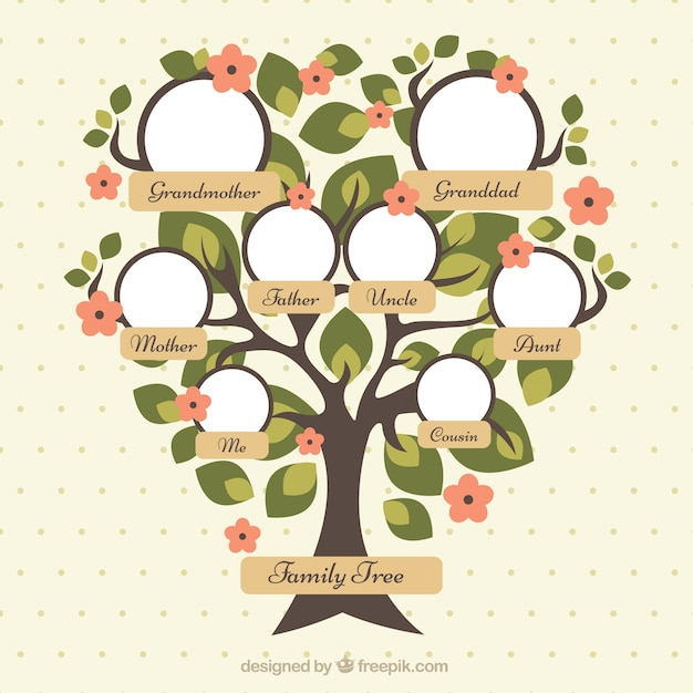 Pretty family tree with green leaves and red flowers Vector | Free ...
