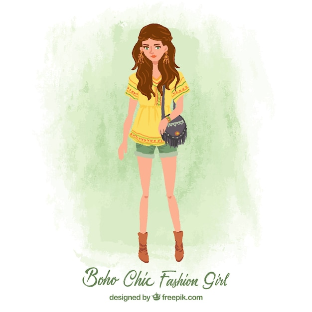 Pretty Fashion Girl In Boho Style Vector Free Download