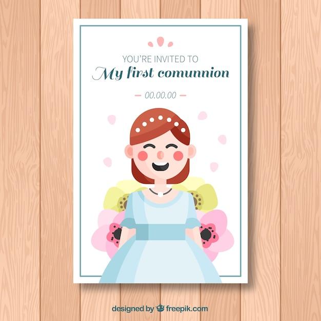 Pretty first communion invitation in flat\ design