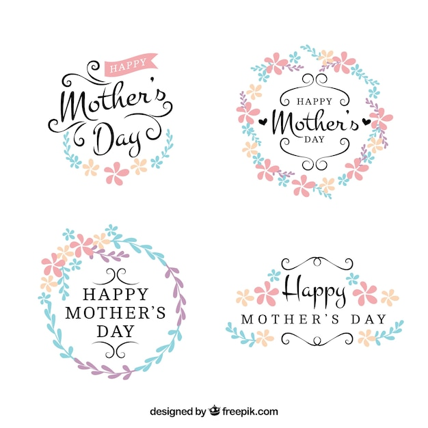 Pretty floral mother day stickers Free Vector