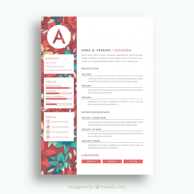 Pretty Floral Resume Template Free Vector