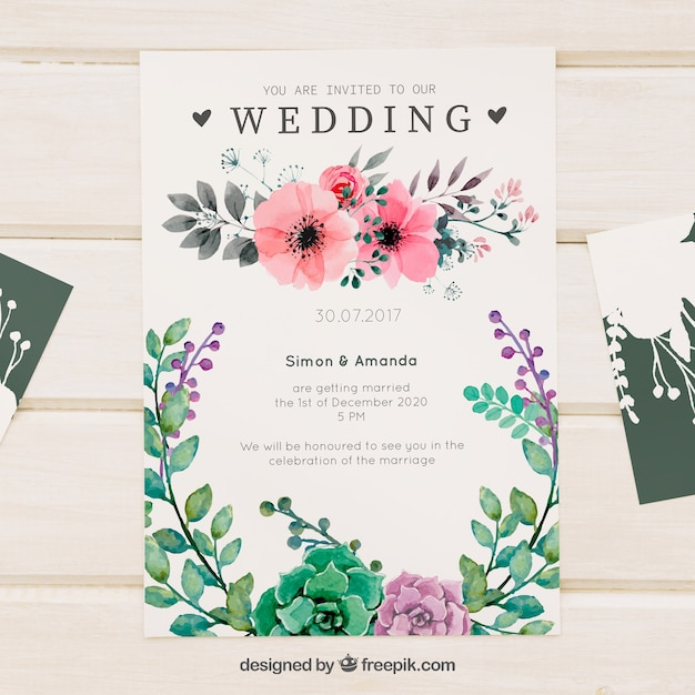 Pretty floral watercolor wedding invitation Free Vector
