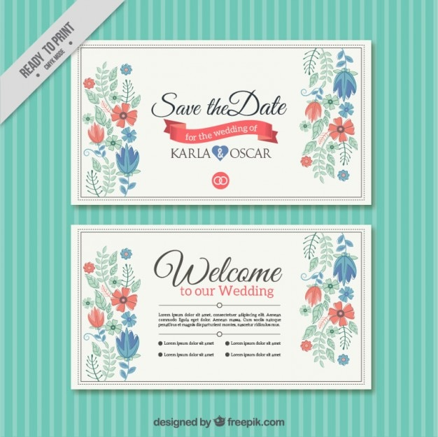 Pretty Floral Wedding Card Template Vector | Free Download