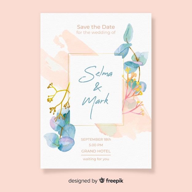 Pretty floral wedding card template Free Vector