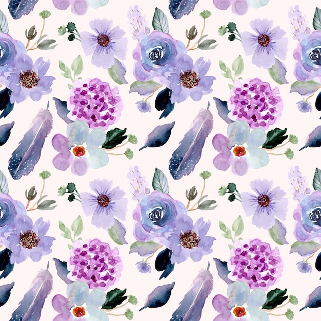 Pretty flower and feather watercolor seamless pattern