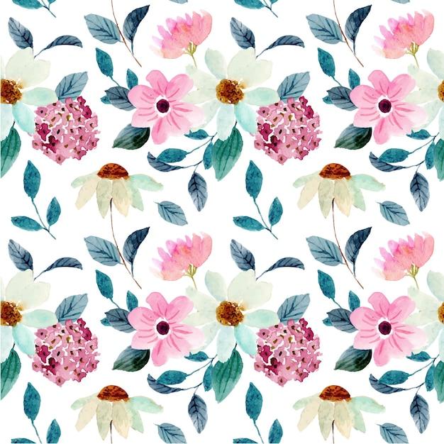 예쁜 꽃 수채화 원활한 패턴 프리미엄 벡터