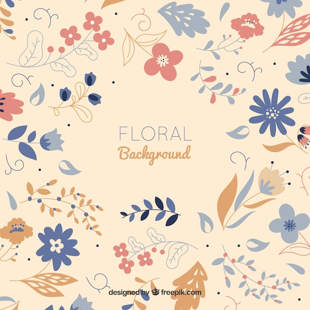 Pretty flowers background in flat style