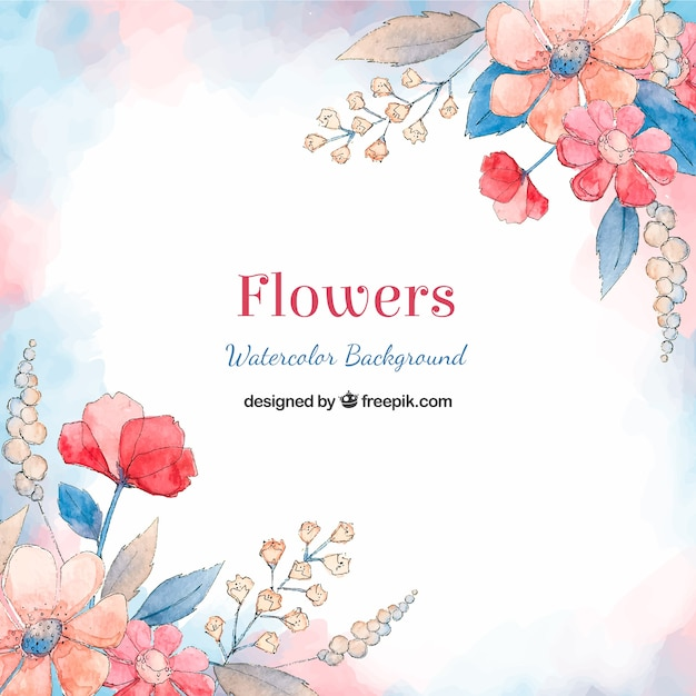 Pretty Flowers Background In Watercolor Style Vector Free Download