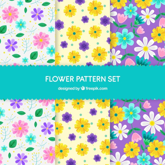Pretty flowers patterns collection in flat style Free Vector