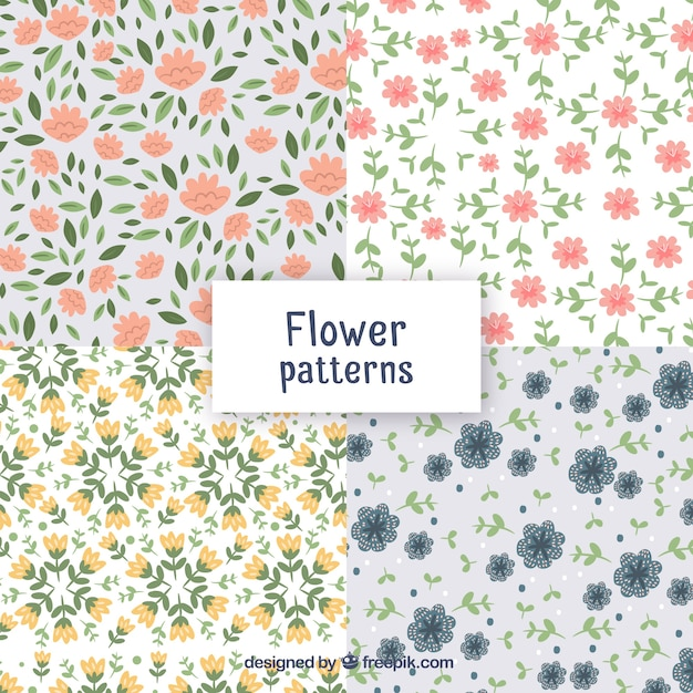 Pretty flowers patterns collection in flat style vector free download pretty flowers patterns collection in flat style free vector mightylinksfo