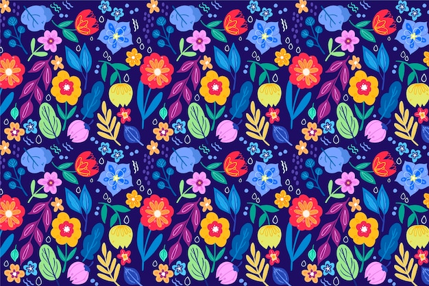 Pretty flowers with seamless pattern background Free Vector