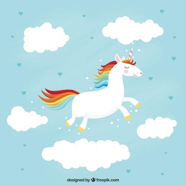 Pretty flying unicorn background Vector Free Download