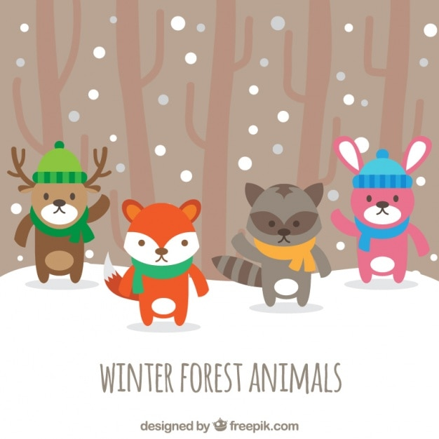 Pretty forest animals with hat and scarf