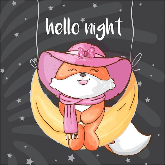 Pretty fox on the moon hand drawn animal Premium Vector