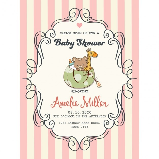 Ai] cute vintage card for baby shower vector free download pikoff.