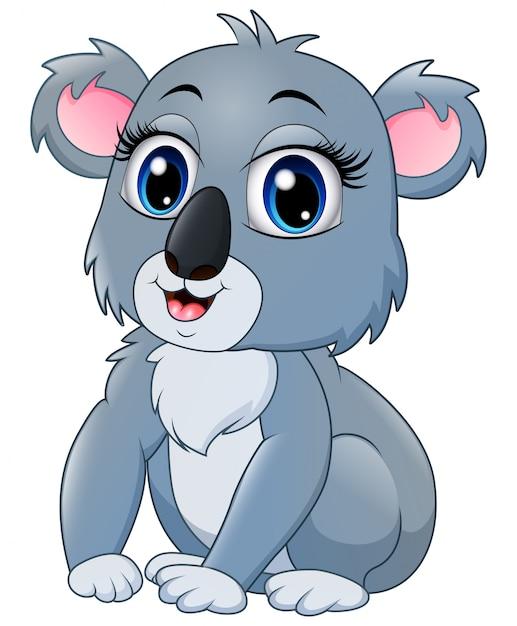Pretty funny koala cartoon Premium Vector