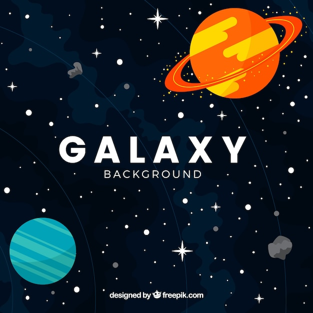 Pretty galaxy background with planets in flat design