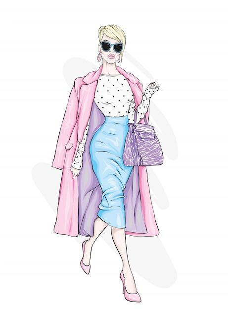 Pretty girl in fashionable clothes.  illustration. Premium Vector