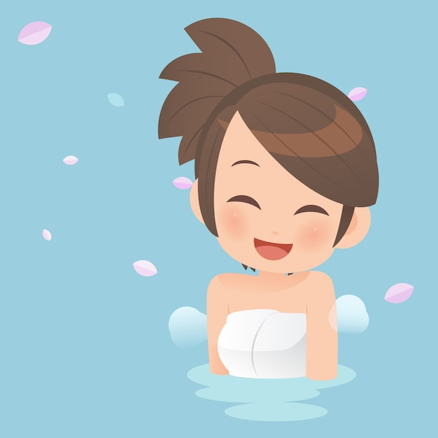 Pretty girls taking bath in onsen hot springs. Premium Vector