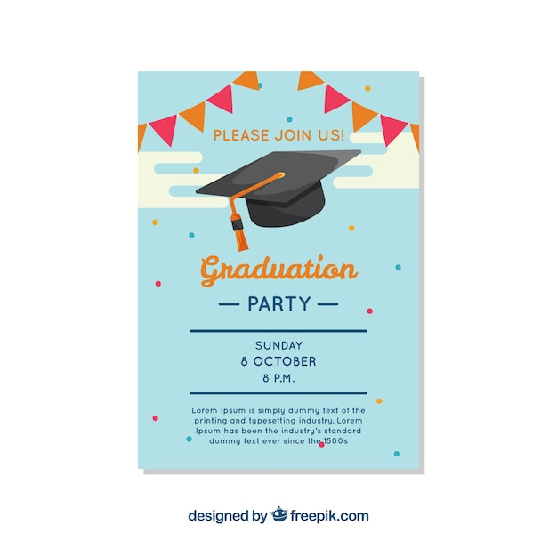 Pretty graduation party brochure vector free download for Graduation brochure templates
