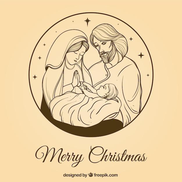 Pretty hand-drawn nativity scene background Free Vector