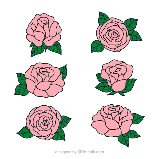 Pretty Hand Drawn Roses Vector Free Download